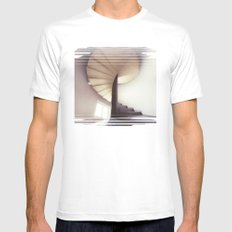 Spiral frontal Mens Fitted Tee SMALL White