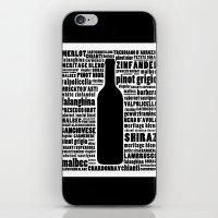 Wine Typography Art - Black and White Wall Art Print iPhone & iPod Skin