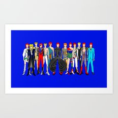 Blue Bowie Group Fashion Outfits Art Print