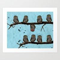 Perched Owls Print Art Print