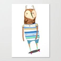 Deer, deer art, deer print, deer illustration, skateboard art, skateboarder,  Canvas Print
