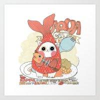 Aqua cat_ Rappa Art Print