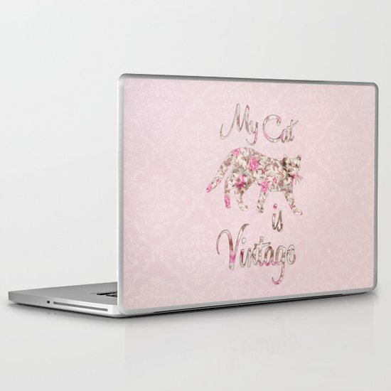 My Cat Is Vintage Retro Pink Floral Damask Laptop & iPad Skin