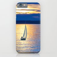 iPhone Cases featuring Sailing vessel in the sea. by Assiyam