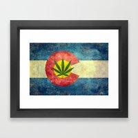 Retro Colorado State flag with the leaf - Marijuana leaf that is! Framed Art Print