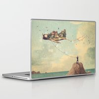 city Laptop & iPad Skins featuring City Kite Afternoon by Paula Belle Flores
