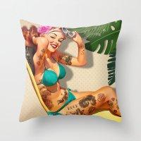 Beach Pin-up Throw Pillow