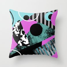 Bits N Pieces - Abstract, geometric, stripes, textured, pastel, blue, pink, black Throw Pillow