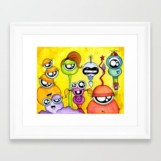 Aliem Friends Framed Art Print