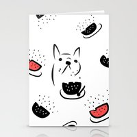 water melon frenchie Stationery Cards