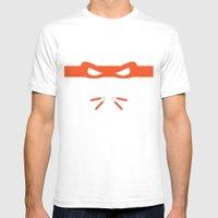 Orange Ninja Turtles Mic… Mens Fitted Tee White SMALL