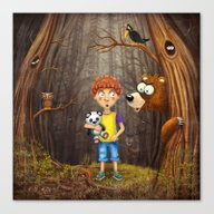 Little Boy With The Anim… Canvas Print