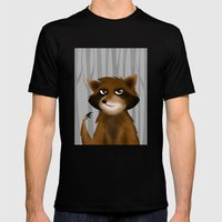 Raccoon Mens Fitted Tee Black SMALL