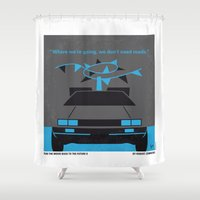 No183 My Back to the Future minimal movie poster-part II Shower Curtain