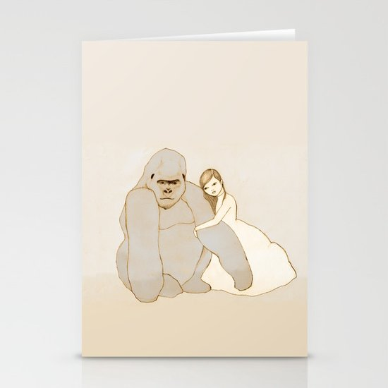 Gorilla and Girl Stationery Card