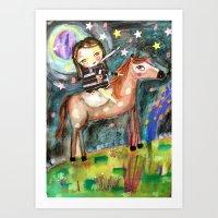 Riding a horse Art Print