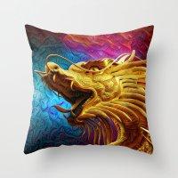 Trippy Dragon Throw Pillow