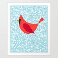 Cardinal Flowers, Carolina Blue Art Print