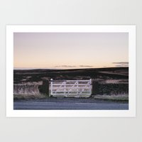 White gate leading to moorland at twilight. Derbyshire, UK. Art Print