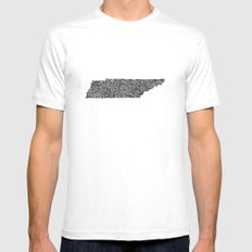 Typographic Tennessee Mens Fitted Tee SMALL White