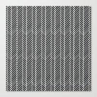 Herringbone Black Invers… Canvas Print