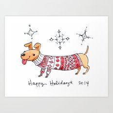 Holiday Card - Happy Hotdog Art Print