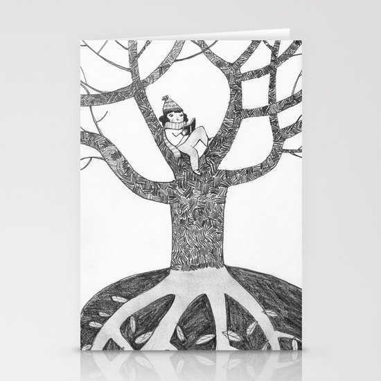 Winter reading Stationery Card