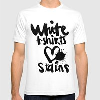 White things love stains Mens Fitted Tee White SMALL