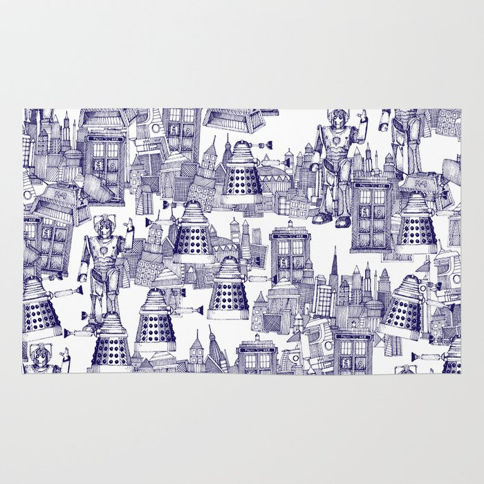 Doctor Who Toile De Jouy Walking Doodle Blue Rug By