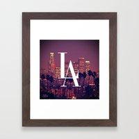 Downtown LA Vintage Skyline Typography Framed Art Print