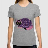 Abstract Cat [BLACK] Womens Fitted Tee Tri-Grey SMALL