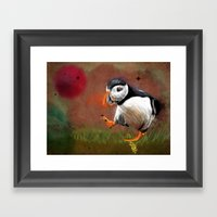 Particle Puffin Framed Art Print
