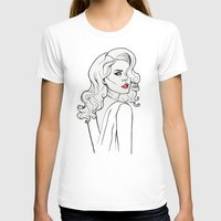 Black White Red Lana LDR Womens Fitted Tee White SMALL