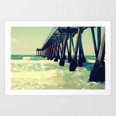 Hermosa Beach Pier Heart Bokeh Art Print