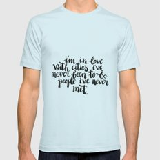 Inspiring quote // Brushlettering Mens Fitted Tee Light Blue SMALL
