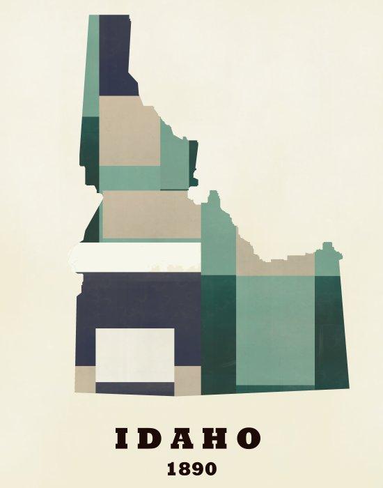 idaho state map modern  Canvas Print