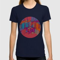 Cube Geometric I Womens Fitted Tee Navy SMALL