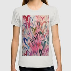 My Love Heart Womens Fitted Tee Silver SMALL