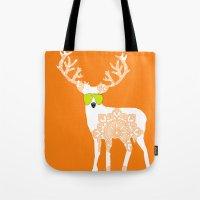 Orange Reindeer Art Tote Bag