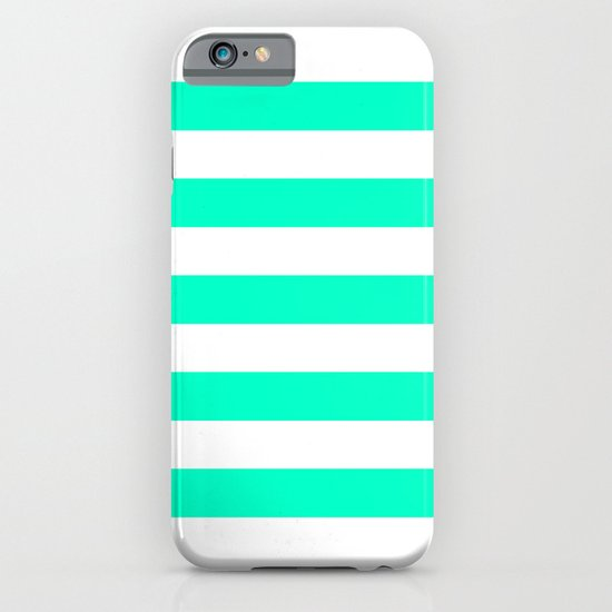 Mint White Stripes iPhone & iPod Case