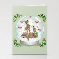 Snow globe deer Stationery Cards