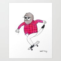 On how to overcome certain obstacles while skateboarding Art Print