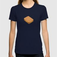 Custard Creams Womens Fitted Tee Navy SMALL
