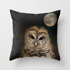 Barred Owl and the Moon Throw Pillow