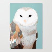 WHITE OWL 3 Canvas Print