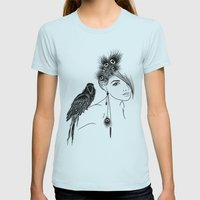 Parrot Girl Womens Fitted Tee Light Blue SMALL