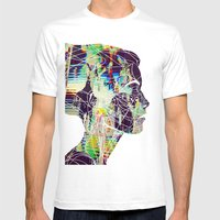 Glitched Girl Mens Fitted Tee White SMALL