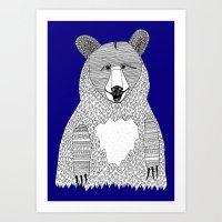 Blue Bear Art Print