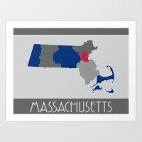 Massachusetts State Map Print Art Print