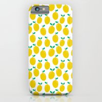 iPhone Cases featuring Lemons - Tropical citrus summer fresh modern pattern bright garden vegetables vegan by CharlotteWinter